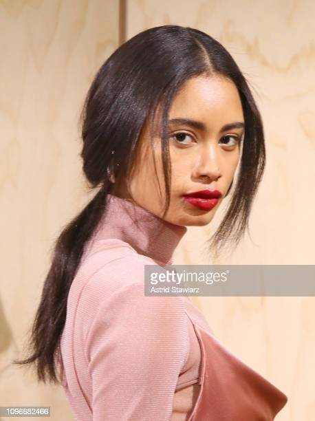 Model pose for TRESemme at Jonathan Simkhai for NYFW on February 9, 2019 in New York City.