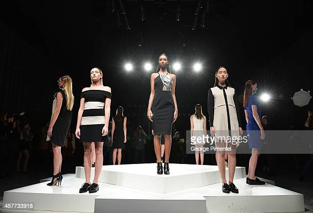 Model pose wearing Caitlin Power spring 2015 collection during World MasterCard Fashion Week Spring 2015 at David Pecaut Square on October 23 2014 in...