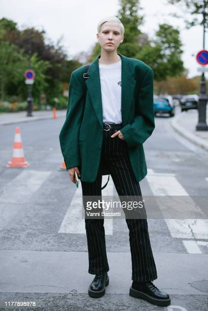 A model poses after the Akris show at the Grand Palais during Paris Fashion Week Womenswear Spring Summer 2020 on September 29 2019 in Paris France