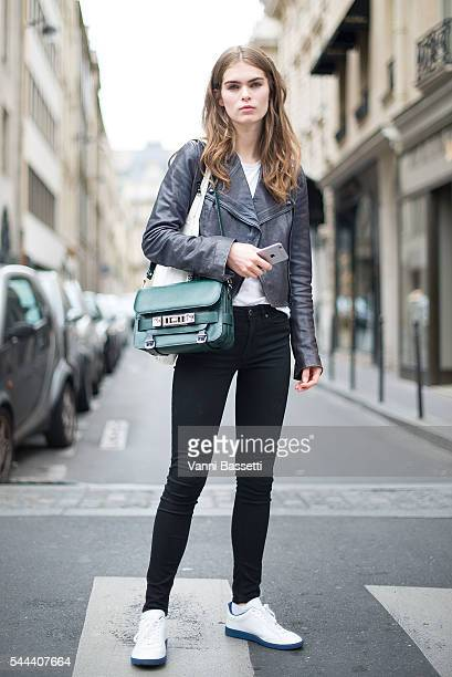 A model poses after the Alberta Ferretti show in Rue Saint Honore during Paris Fashion Week Haute Couture FW16/17 on July 3 2016 in Paris France