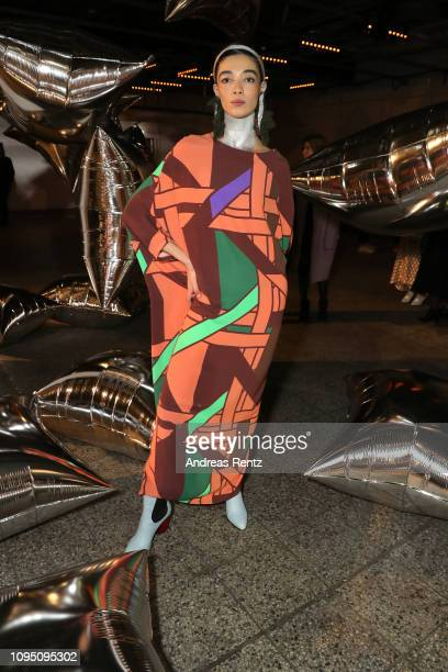 Model poses after the Dawid Tomaszewski Defile during the Berlin Fashion Week Autumn/Winter 2019 on January 16 2019 in Berlin Germany