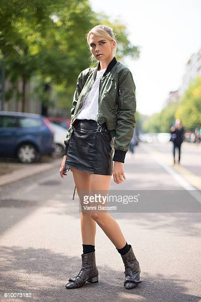 A model poses after the Fendi show during Milan Fashion Week Spring/Summer 2017 on September 22 2016 in Milan Italy