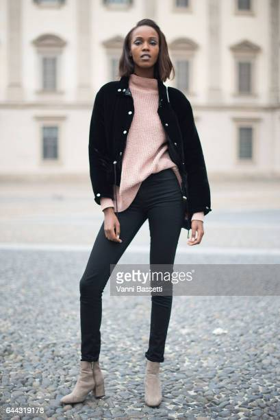 A model poses after the Genny show during Milan Fashion Week Fall/Winter 2017/18 on February 23 2017 in Milan Italy