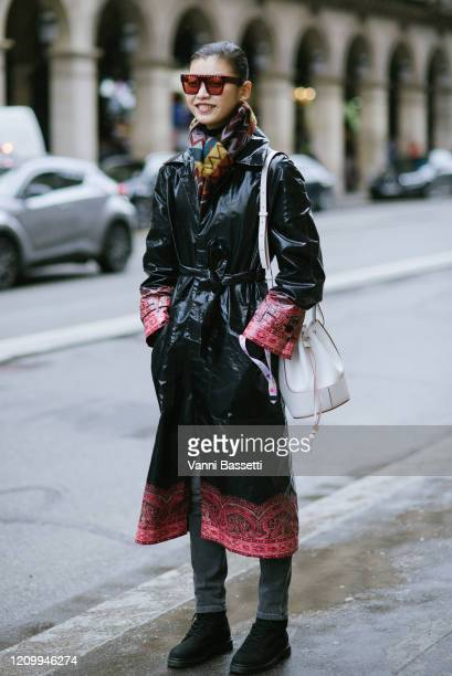 Model poses after the Giambattista Valli show at the Musée des Arts Décoratifs during Paris Fashion Week Womenswear Fall/Winter 2020/2021 on March...