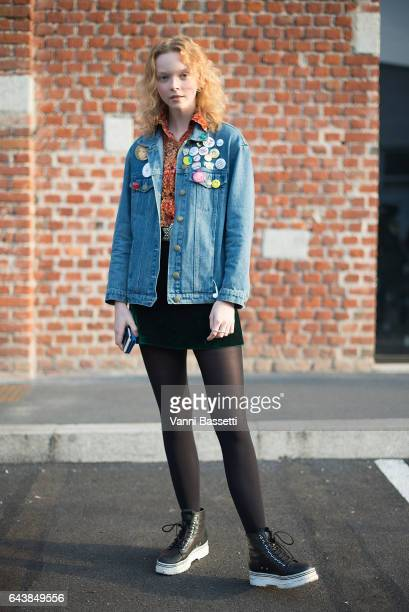 A model poses after the Gucci show during Milan Fashion Week Fall/Winter 2017/18 on February 22 2017 in Milan Italy