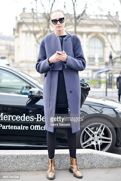 A model poses after the Iris Van Herpen show on Day 8 of Paris Fashion Week Womenswear FW15 on March 10 2015 in Paris France