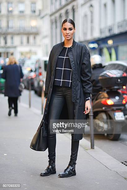 A model poses after the Jean Paul Gaultier show during Haute Couture Spring Summer 16 on January 27 2016 in Paris France