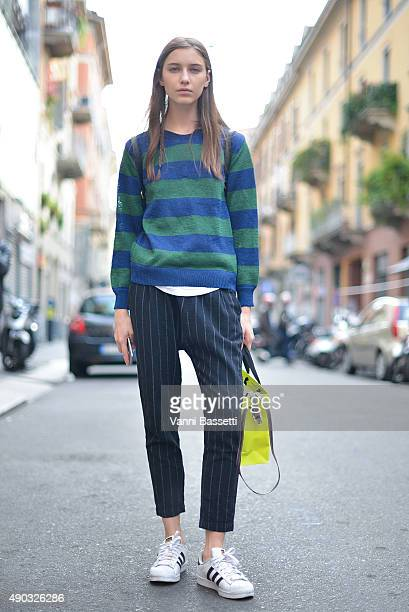 A model poses after the MSGM show during the Milan Fashion Week Spring/Summer 16 on September 27 2015 in Milan Italy