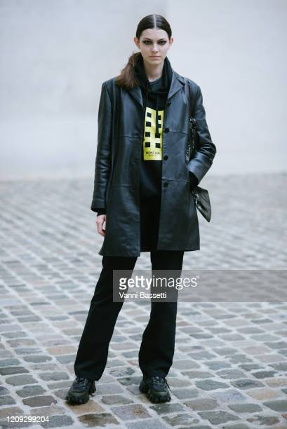 A model poses after the Olivier Theyskens show during Paris Fashion Week Womenswear Fall/Winter 2020/2021 on February 28 2020 in Paris France