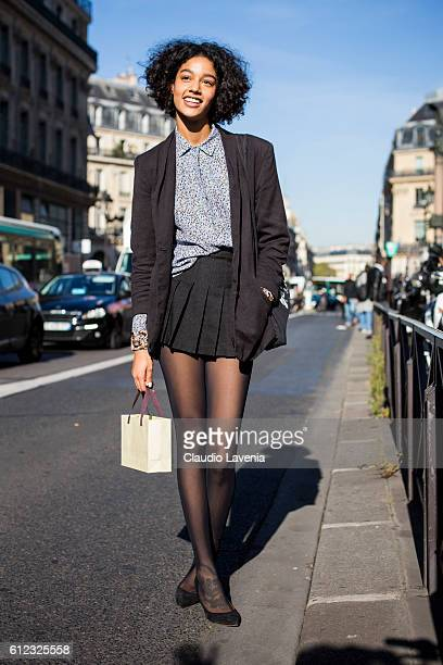 A model poses after the Stella McCartney show on day 7 of Paris Womens Fashion Week Spring/Summer 2017 on October 3 2016 in Paris France