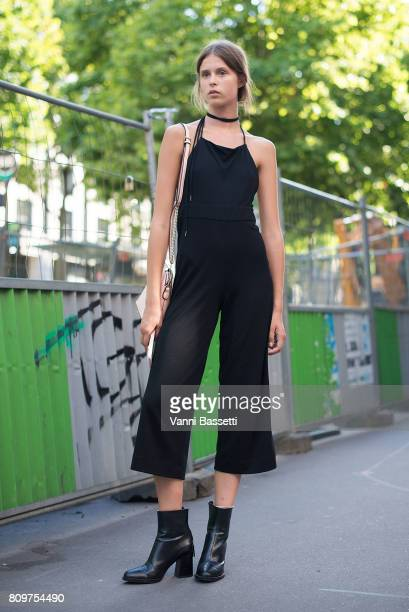 A model poses after the Valentino show at the Hotel Salomon de Rothschild during Paris Fashion Week Haute Couture FW 17/18 on July 5 2017 in Paris...