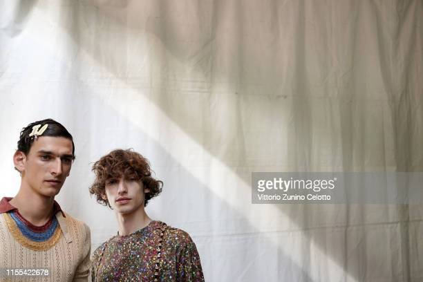 Model poses ahead of Marco De Vincenzo show during Pitti Immagine Uomo 96 on June 12, 2019 in Florence, Italy.