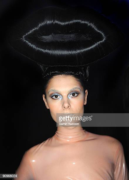 A model poses ahead of the Charlie Le Mindu Spring/Summer 2010 show as part of Blow Presents during London Fashion Week at the Royal Festival Hall on...