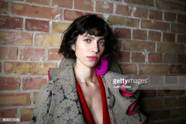 A model poses ahead of the Dawid Tomaszewski show during the MBFW January 2018 at ewerk on January 15 2018 in Berlin Germany