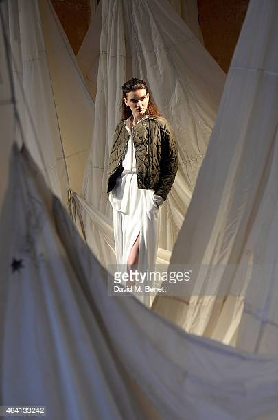A model poses as Belstaff Presents Autumn Winter 2015 Womenswear Collection The Pursuit of Freedom at The Old Sessions House on February 22 2015 in...