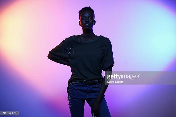 A model poses as she prepares backstage ahead of the Aje show at MercedesBenz Fashion Week Resort 17 Collections at Carriageworks on May 16 2016 in...