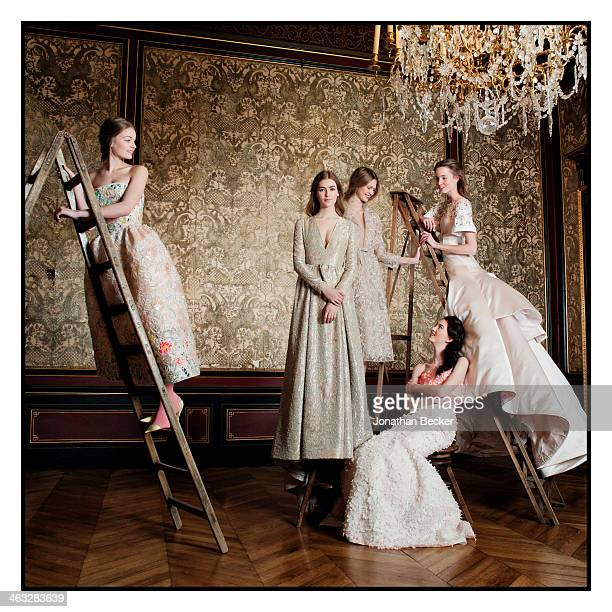 Model poses at a fashion shoot for Town Country Magazine on January 24 2013 in Paris France PUBLISHED IMAGE