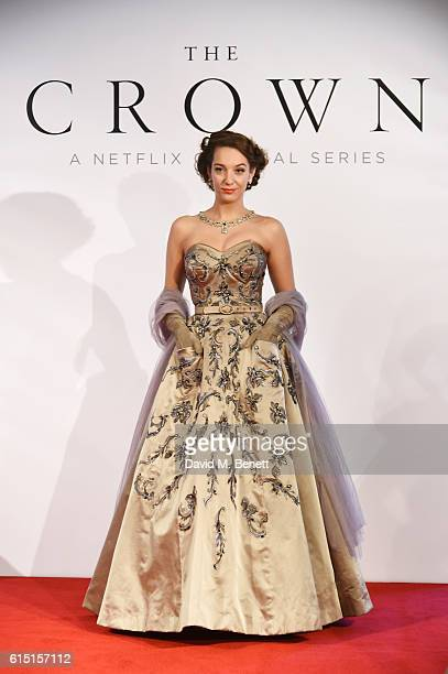A model poses at a presentation featuring costumes from new Netflix Original series The Crown with designer Michele Clapton at the ICA on October 17...
