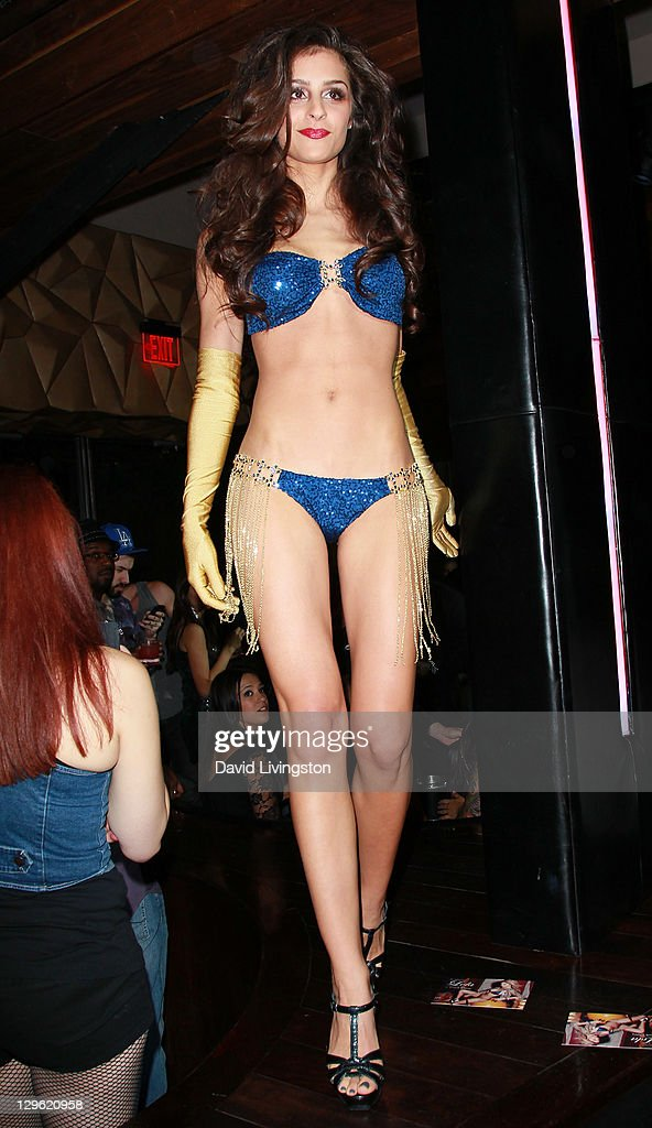 A model poses at Beach Bunny Swimwear's celebration of LA Fashion Week at Eden on October 18, 2011 in Los Angeles, California.