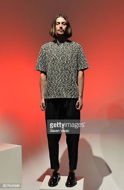A model poses at Chapter's Presentation during New York Fashion Week Men's Fall/Winter 2016 at Industria Superstudio on February 1 2016 in New York...