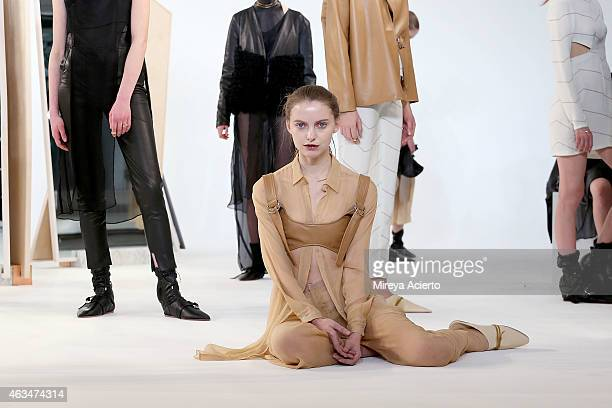 A model poses at Collina Strada presentation during MADE Fashion Week Fall 2015pose at Milk Studios on February 14 2015 in New York City