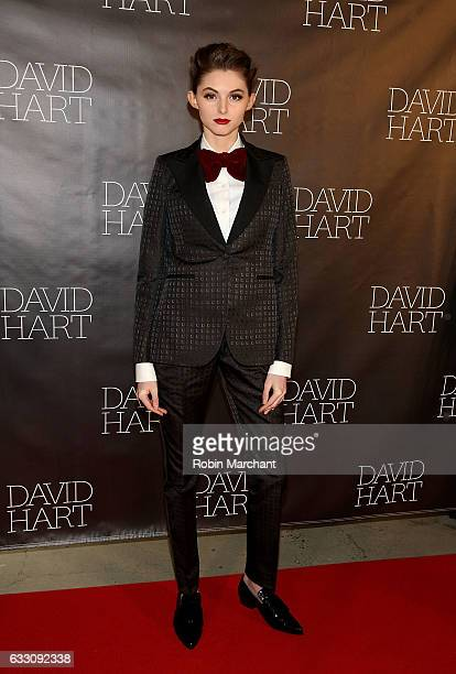 A model poses at David Hart Presentation during NYFW Men's on January 30 2017 in New York City