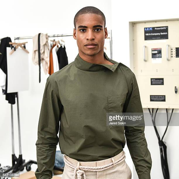 Model poses at Deveaux Backstage New York Fashion Week Men's S/S 2017 at 50 Varick Street on July 13 2016 in New York City