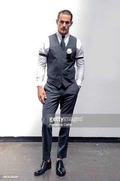 Model poses at Eponymovs By Hvrminn Presentation at New York Fashion Week: Men's S/S 2016 at Industria Superstudio on July 13, 2015 in New York City.