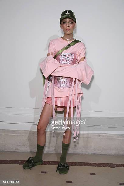 A model poses at FENTY x PUMA by Rihanna at Hotel Salomon de Rothschild on September 28 2016 in Paris France