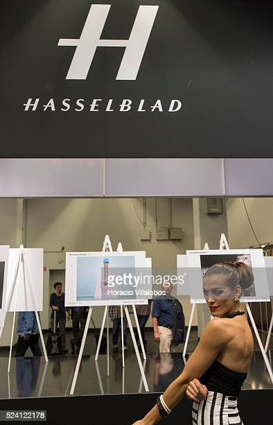A model poses at Hasselblad stand in Photokina 2014 in Cologne Germany 18 September 2014 Photokina the world's leading imaging fair brings together...