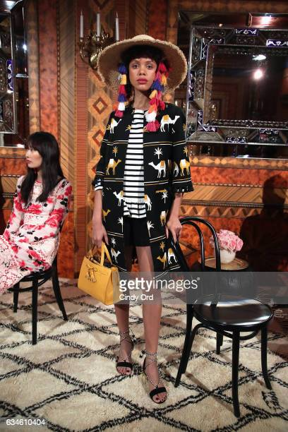 Model poses at kate spade new york Spring 2017 Fashion Presentation at Russian Tea Room on February 10, 2017 in New York City.