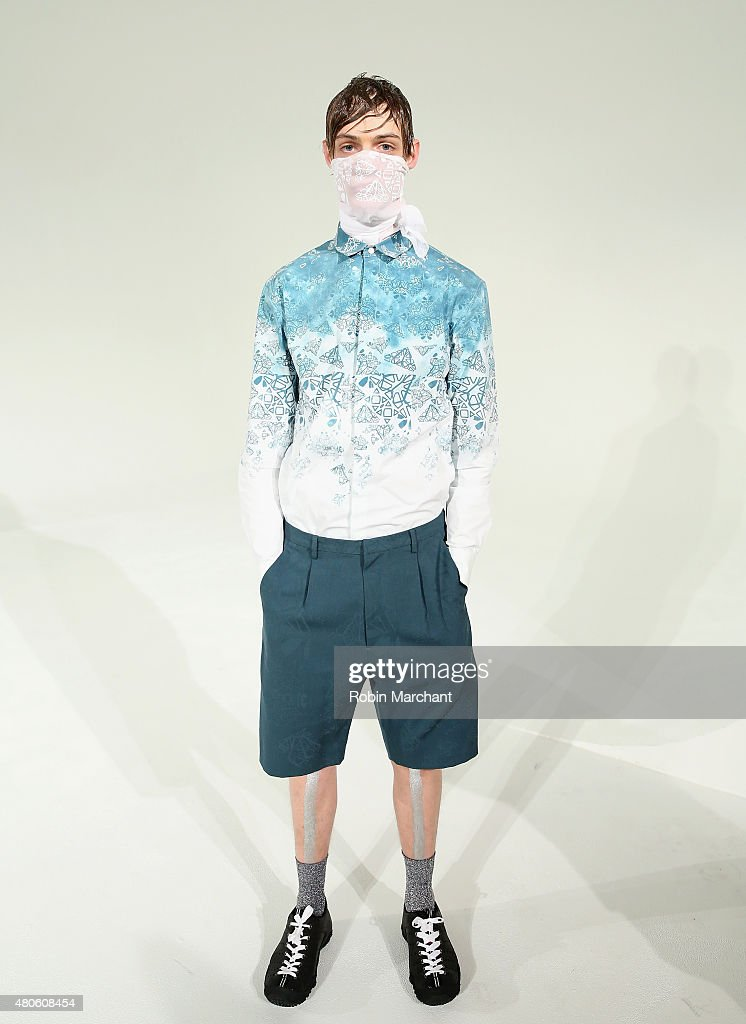 A model poses at Kenneth Ning Presentation during New York Fashion Week: Men's S/S 2016at Industria Superstudio on July 13, 2015 in New York City.