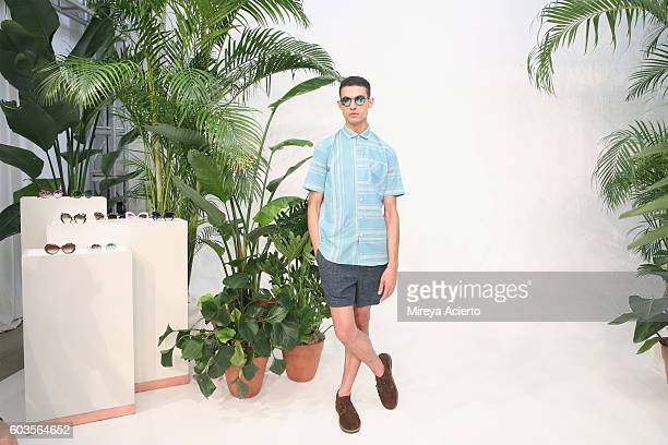A model poses at Krewe New Orleans Eyewear presentation during MADE Fashion Week September 2016 at Milk Studios on September 11 2016 in New York City