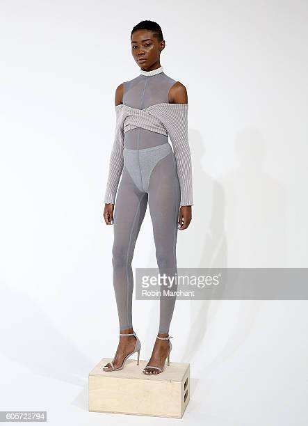 A model poses at Laquan Smith Presentation September 2016 during New York Fashion Week on September 14 2016 in New York City