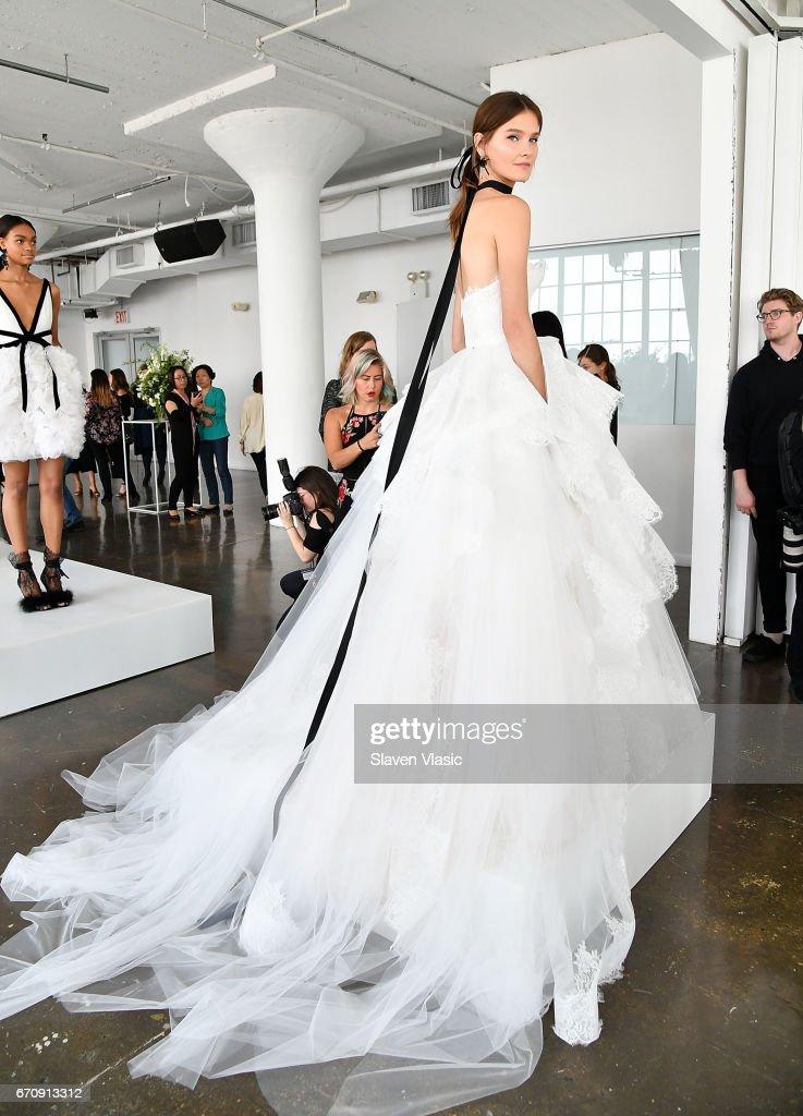 A model poses at Marchesa Bridal Presentation during New York Fashion Week: Bridal April 2017 at Canoe Studios on April 20, 2017 in New York City.