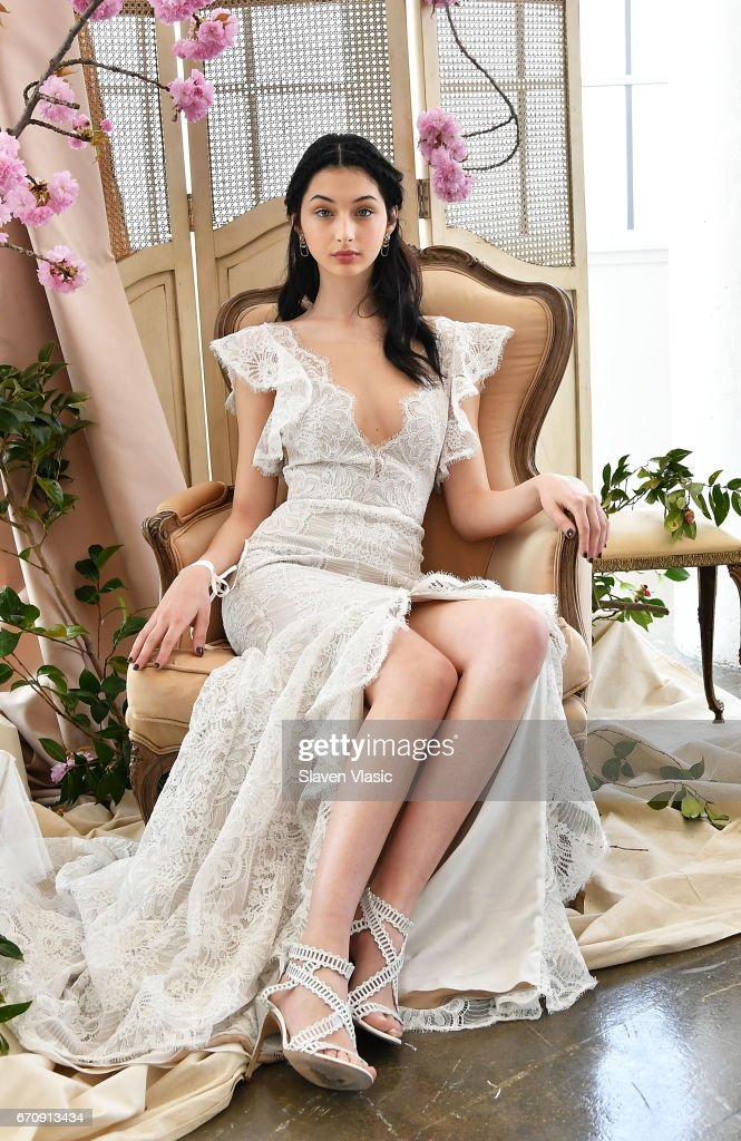A model poses at Marchesa's Notte Bridal Presentation during New York Fashion Week: Bridal April 2017 at Canoe Studios on April 20, 2017 in New York City.