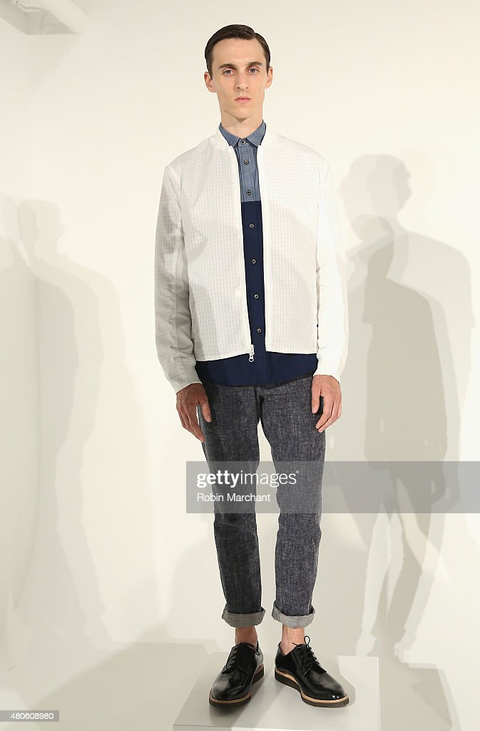 A model poses at Matiere Presentation during New York Fashion Week: Men's S/S 2016 at Industria Superstudio on July 13, 2015 in New York City.