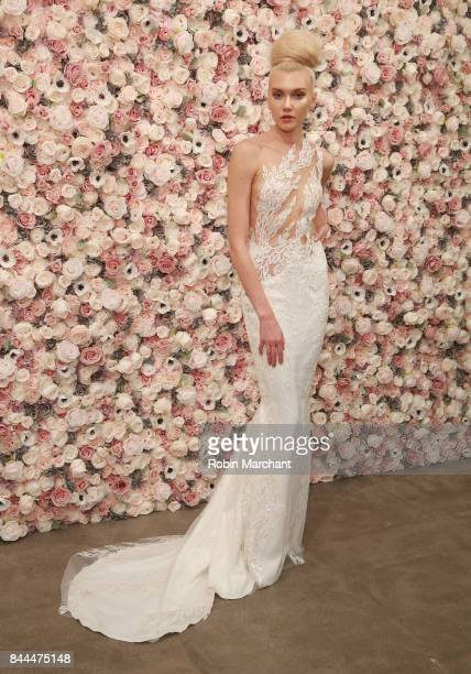 A model poses at Michael Costello presentation during New York Fashion Week at Robert Miller Gallery on September 8 2017 in New York City