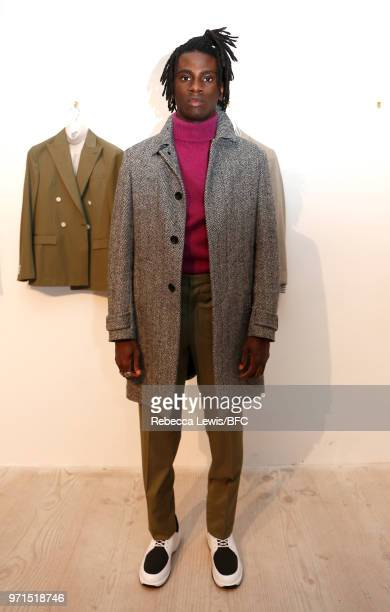 A model poses at Mr Start DiscoveryLAB during London Fashion Week Men's June 2018 at the BFC Show Space on June 11 2018 in London England