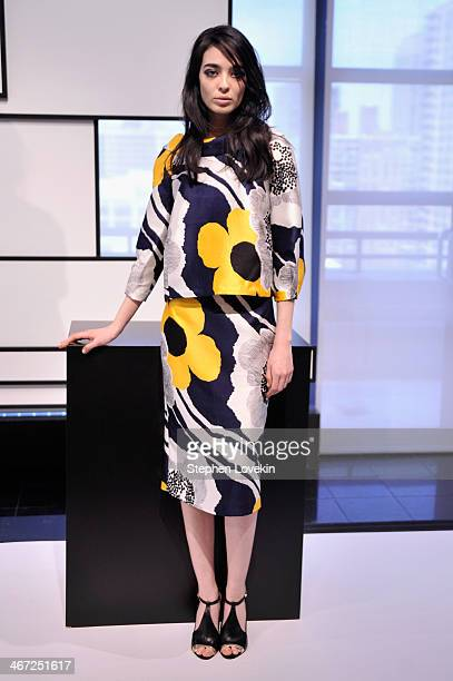 A model poses at Raoul Prestentation during MercedesBenz Fashion Week Fall 2014 at Stanley H Kaplan Penthouse at Lincoln Center on February 6 2014 in...