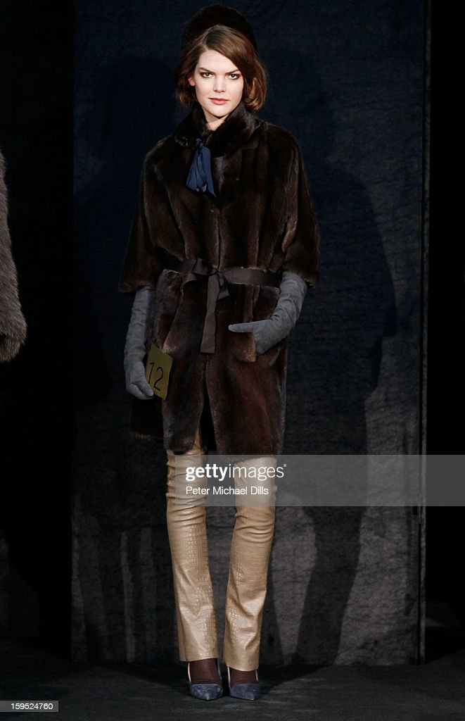 A model poses at Schacky And Jones Show Autumn/Winter 2013/14 fashion show during Mercedes-Benz Fashion Week Berlin at Brandenburg Gate on January 15, 2013 in Berlin, Germany.