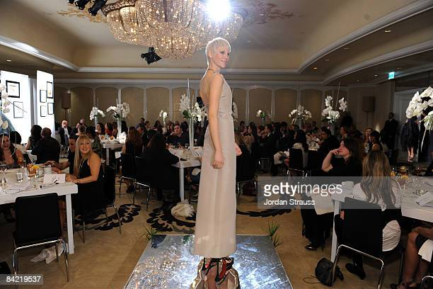 A model poses at the 8th Annual Awards Season Diamond Fashion Show Preview hosted by the Diamond Information Center and InStyle held at The Beverly...