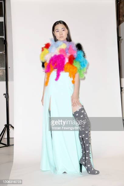 A model poses at the Agne Kuzmickaite AW20 presentation during London Fashion Week February 2020 on February 14 2020 in London England