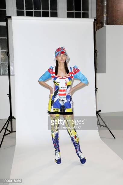 A model poses at the Agne Kuzmickaite AW20 presentation during London Fashion Week February 2020 at Victoria House on February 14 2020 in London...