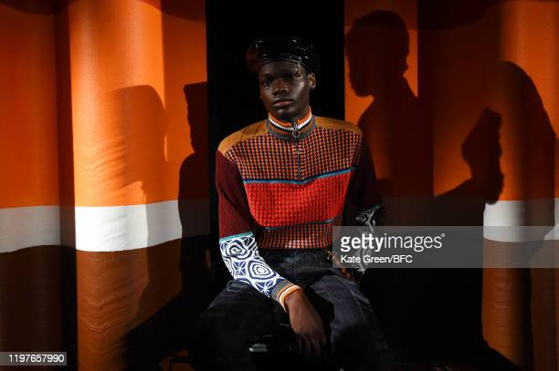 Model poses at the Ahluwalia Studio DiscoveryLAB during London Fashion Week Men's January 2020 at the BFC Designer Showrooms on January 05, 2020 in...