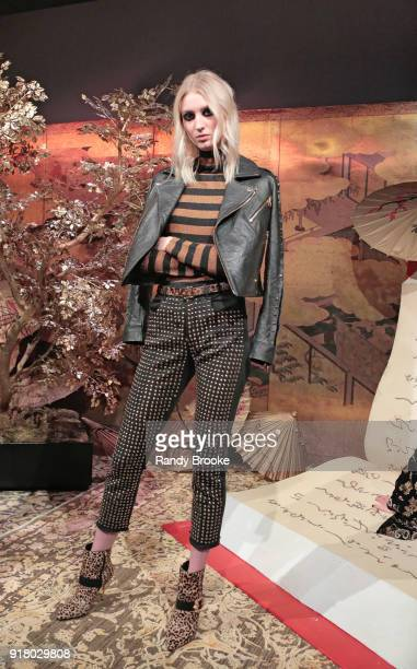 A model poses at the Alice Olivia By Stacey Bendet Presentation February 2018 New York Fashion Week The Shows at Industria Studios on February 13...