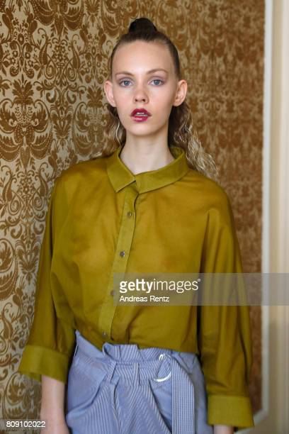 A model poses at the Antonia Goy Defile during 'Der Berliner Mode Salon' Spring/Summer 2018 at Kronprinzenpalais on July 5 2017 in Berlin Germany