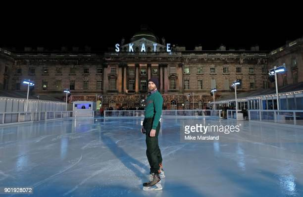 A model poses at the Band of Outsiders Presentation during London Fashion Week Men's January 2018 at Somerset House on January 6 2018 in London...