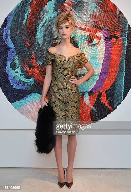 A model poses at the Barbara TFank presentation during MercedesBenz Fashion Week Fall 2014 at Leila Heller Gallery on February 10 2014 in New York...