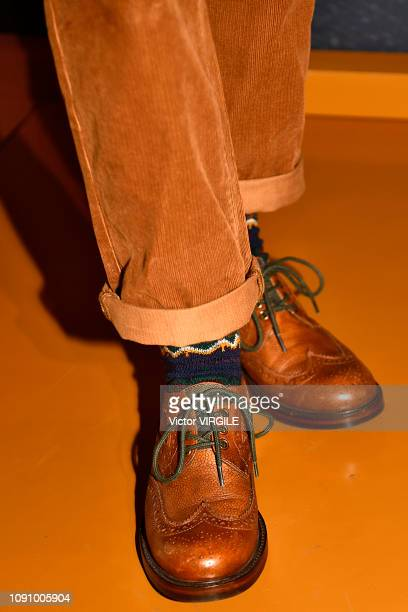 A model poses at the Barbour presentation Fall/Winter 20192020 during London Fashion Week Men's January 2019 at Lancaster House on January 7 2019 in...